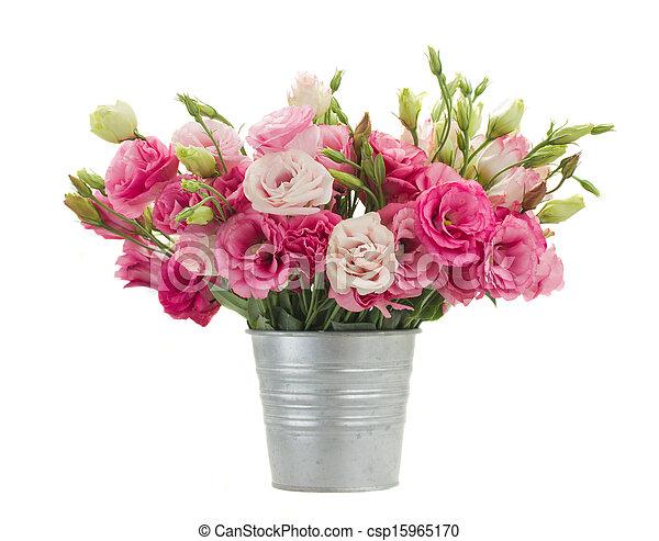Bloemen In Pot.Roze Pot Eustoma Metaal Bloemen