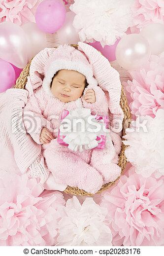 Roze Pr Cadeau Slapende Pasgeboren Achtergrond Baby Meisje