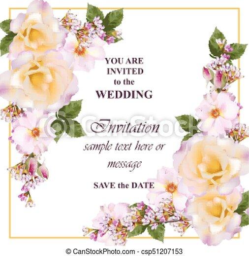 roze, sleutelbloem, roos, flowers., lavendel, uitnodiging, kleuren, delicaat, vector., huwlijkskaart - csp51207153