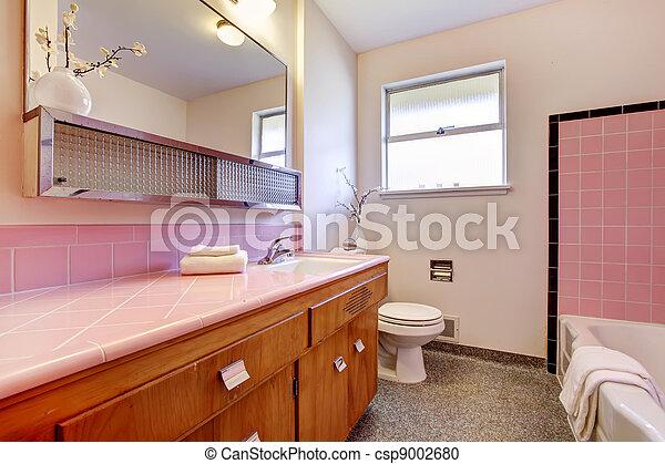 Roze, tub., badkamer, interieur, oud. Roze, badkamer, oud ...