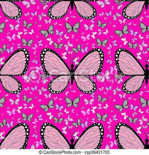 roze, vlinder, pastel, omringde, veelkleurig, groot, vlinder, achtergrond, kleine - csp36431703