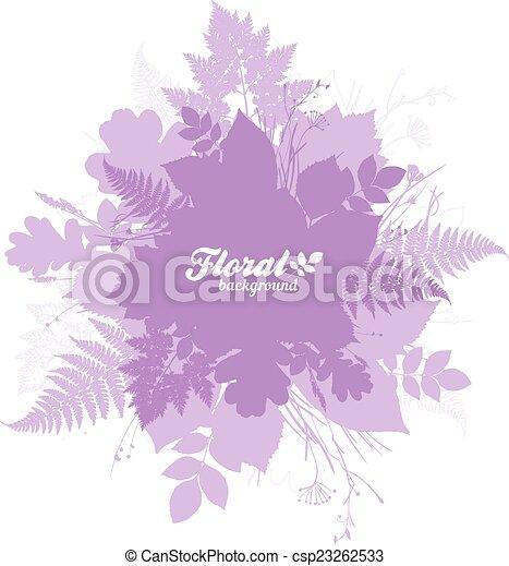 roze, vrijstaand, silhouettes, gebladerte, modieus, spandoek - csp23262533