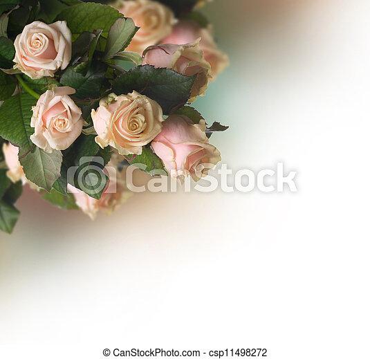 rozen, border., sepia, ouderwetse , gestyleerd - csp11498272