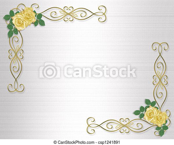 rozen, trouwfeest, gele, uitnodiging - csp1241891