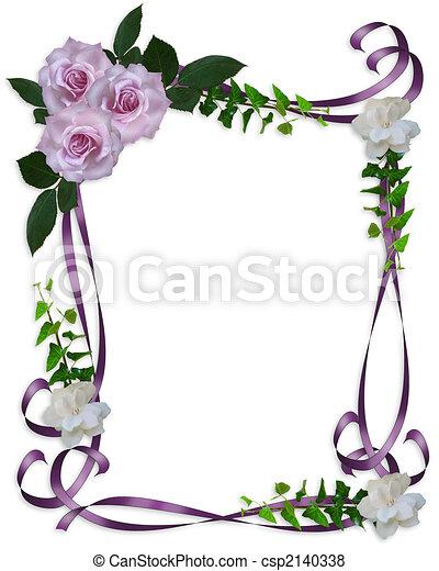 rozen, trouwfeest, grens, lavendel, uitnodiging - csp2140338