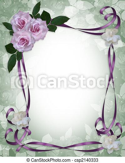 rozen, trouwfeest, grens, lavendel, uitnodiging - csp2140333