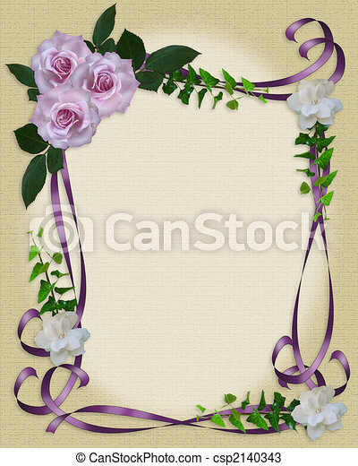 rozen, trouwfeest, grens, lavendel, uitnodiging - csp2140343