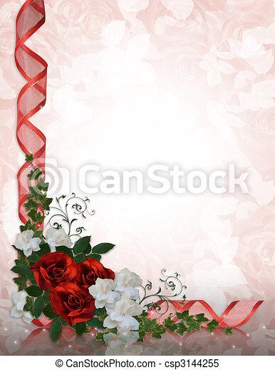 rozen, trouwfeest, grens, rood, uitnodiging - csp3144255