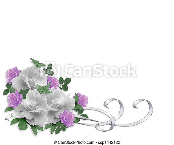 rozen, trouwfeest, grens, uitnodiging - csp1442122