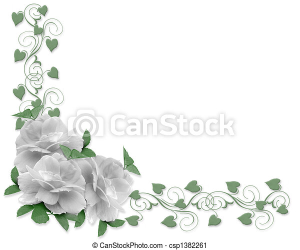 rozen, trouwfeest, grens, uitnodiging - csp1382261