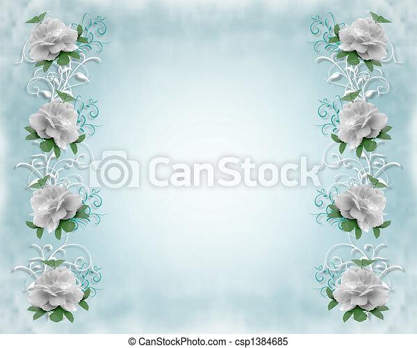 rozen, trouwfeest, grens, uitnodiging - csp1384685