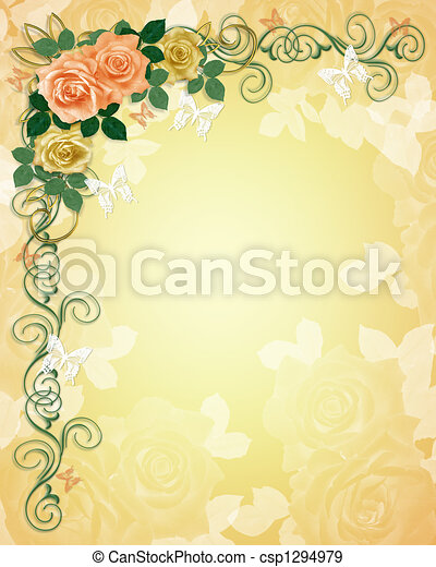 rozen, trouwfeest, grens, uitnodiging - csp1294979