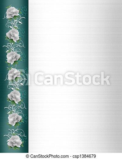 rozen, trouwfeest, grens, uitnodiging - csp1384679