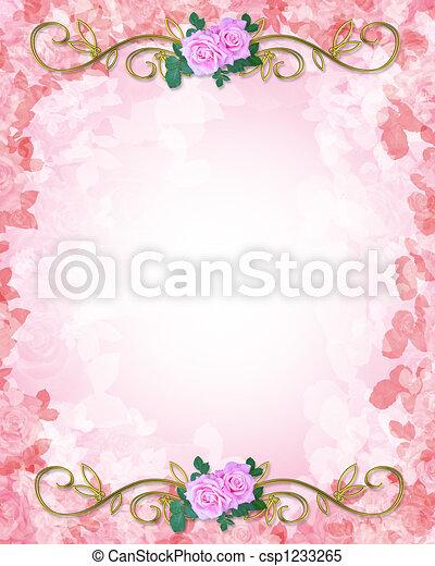 rozen, trouwfeest, mal, uitnodiging - csp1233265