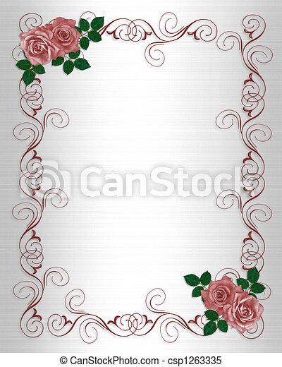 rozen, trouwfeest, mal, uitnodiging - csp1263335