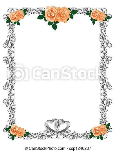 rozen, trouwfeest, perzik, uitnodiging - csp1248237