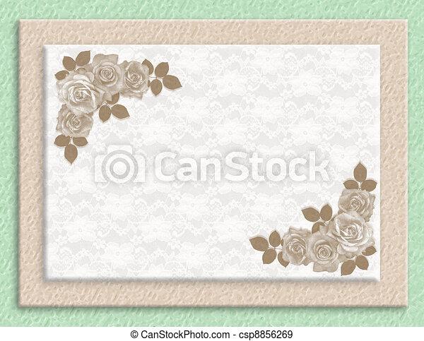 rozen, trouwfeest, sepia, uitnodiging - csp8856269
