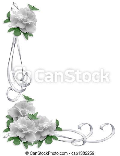 rozen, witte , grens, trouwfeest - csp1382259