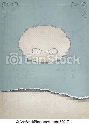 rozerwał, stary, illustration., rocznik wina, paper., wektor, tło - csp16391711