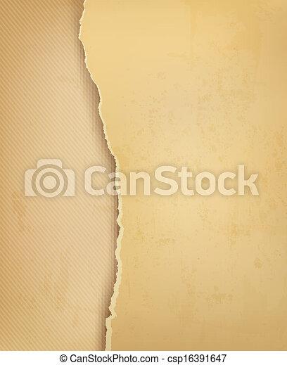 rozerwał, stary, illustration., rocznik wina, paper., wektor, tło - csp16391647