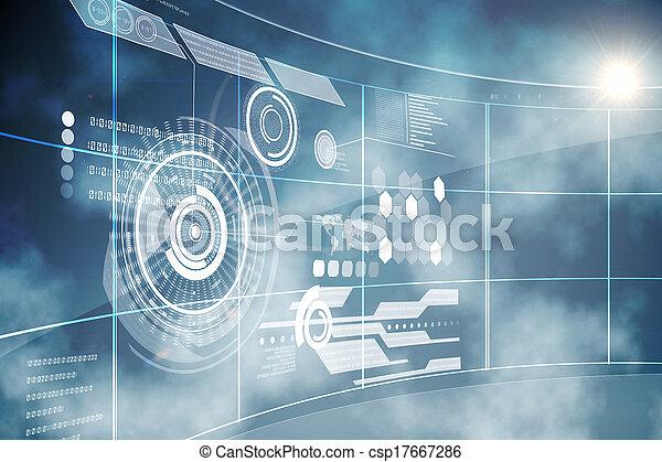 rozhraní, technika, futuristický - csp17667286