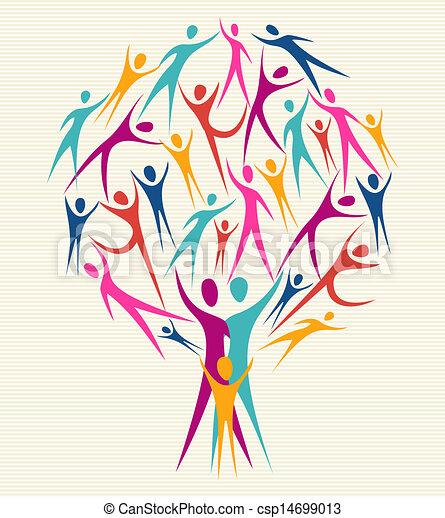 rozmaitość, kolor, komplet, drzewo, ludzki - csp14699013
