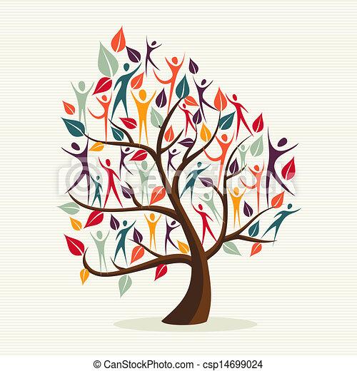 rozmaitość, liście, komplet, drzewo, ludzki - csp14699024