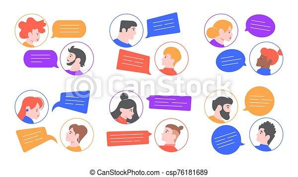 rozmawianie, dialogi, ludzie., mowa, avatars, gaworząc, mężczyźni, bańki, komunikacja, wektor, brainstorm, razem., ludzie, profil, para, młody, rozmawianie, pogawędka, rozmowa, kobiety, set., ilustracja - csp76181689
