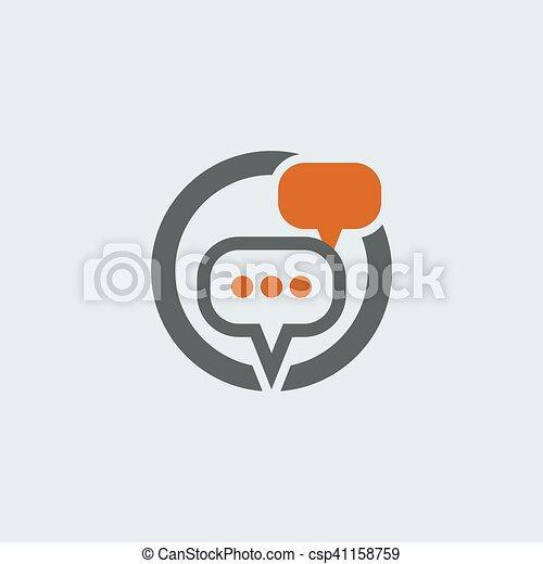 rozmowa, bańki, gray-orange, okrągły, ikona - csp41158759