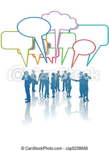 rozmowa, ludzie handlowe, sieć, komunikacja, media, kolor - csp5238656