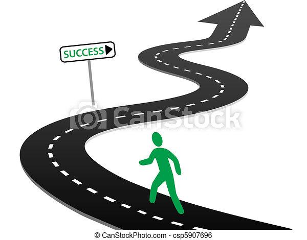 rozpoczynać, powodzenie, krzywe, podróż, inicjatywa, szosa - csp5907696