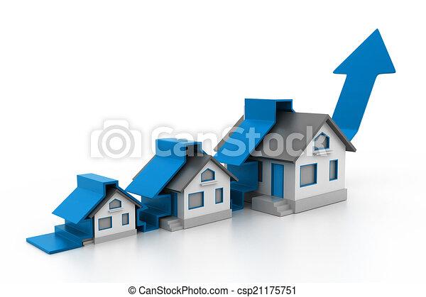 rozwój, dom, sprzedaż, wykres - csp21175751