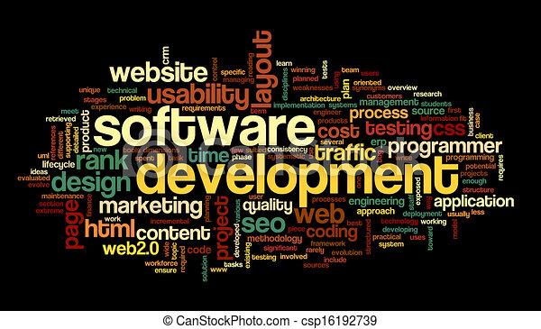 rozwój, pojęcie, skuwka, chmura, software - csp16192739