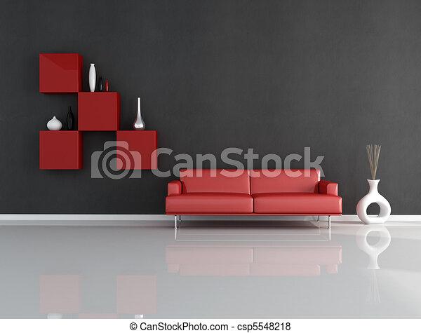 rozwalanie się, czarny czerwony - csp5548218