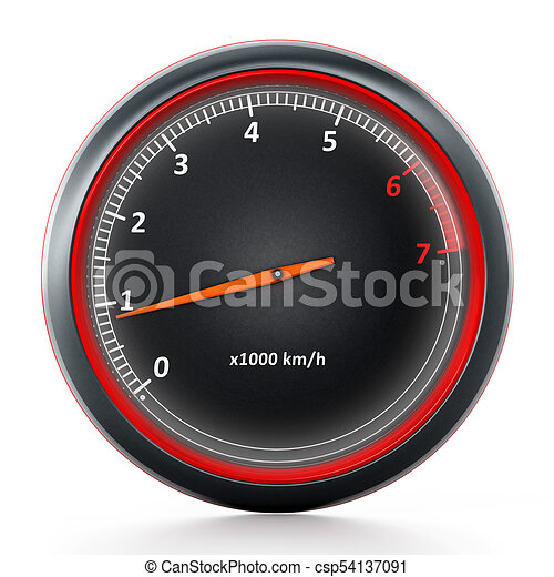 rpm meter isolated on white background 3d illustration