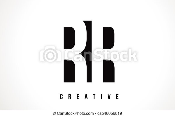 Rr R White Letter Logo Design With Black Square Rr R White Letter