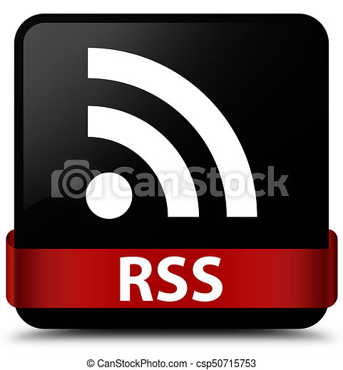 RSS black square button red ribbon in middle - csp50715753