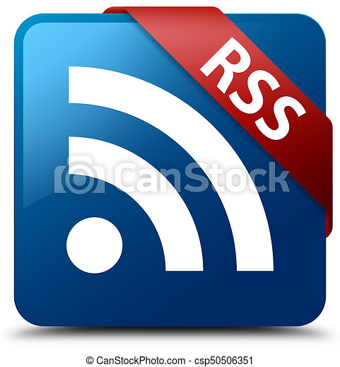 RSS blue square button red ribbon in corner - csp50506351