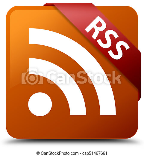 RSS brown square button red ribbon in corner - csp51467661
