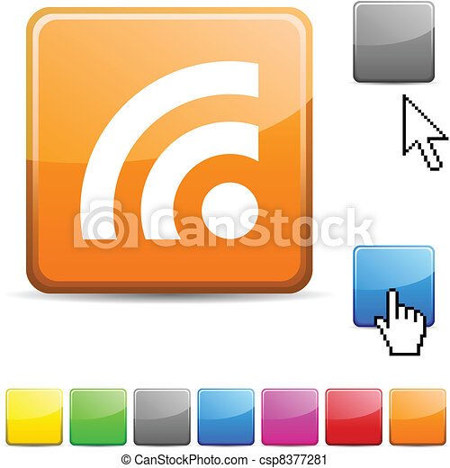 Rss glossy button. - csp8377281