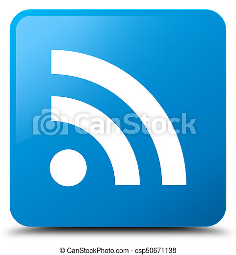 RSS icon cyan blue square button - csp50671138