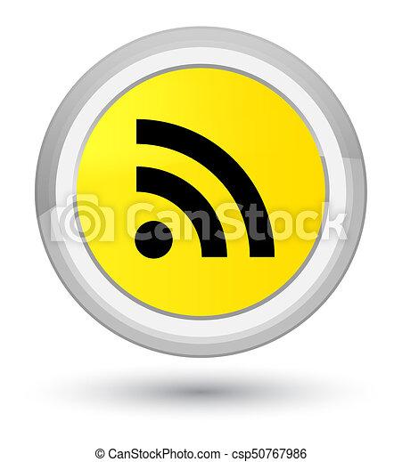 RSS icon prime yellow round button - csp50767986
