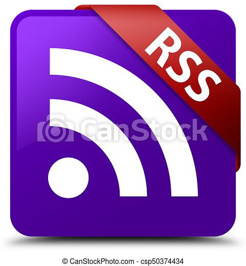 RSS purple square button red ribbon in corner - csp50374434