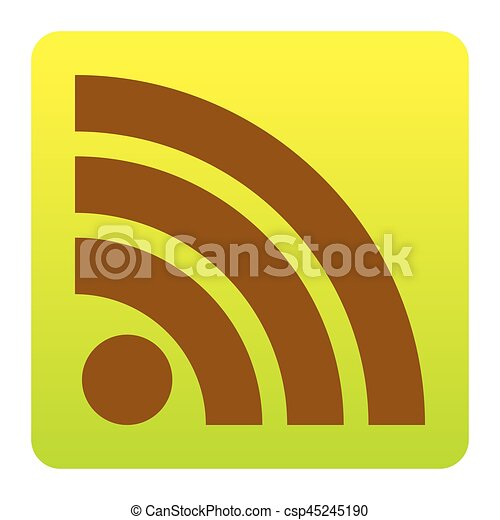 RSS sign illustration. Vector. Brown icon at green-yellow gradient square with rounded corners on white background. Isolated. - csp45245190