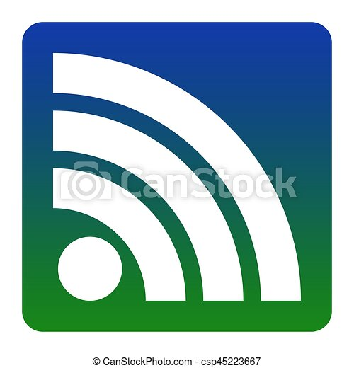 RSS sign illustration. Vector. White icon at green-blue gradient square with rounded corners on white background. Isolated. - csp45223667