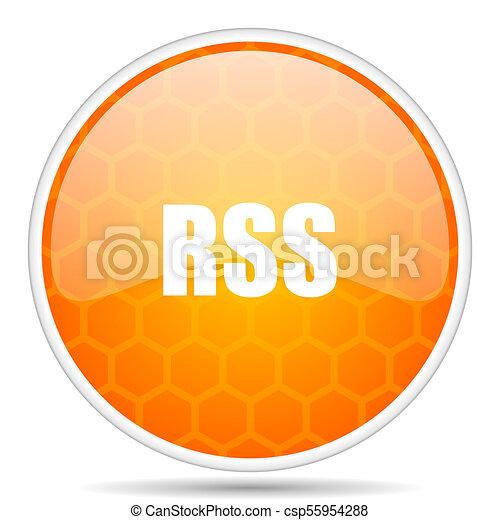 Rss web icon. Round orange glossy internet button for webdesign. - csp55954288