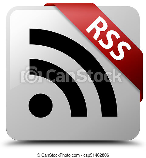 RSS white square button red ribbon in corner - csp51462806