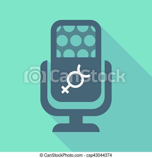 Rtęć, mikrofon, symbol, długi, planeta, cień. Rtęć,... – ilustracja ...
