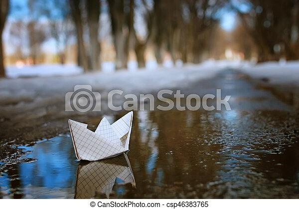 rua, primavera, tingido, papel, foto, bote - csp46383765