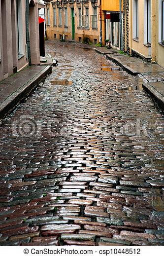 rua, tallinn, molhados - csp10448512